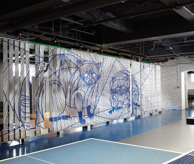 Spin Toronto (Ping-Pong Night Club): Rather than follow the franchise style book– the chain's NYC outpost features tufted lounge furniture and sci-fi lighting– MSDS chose to express the grit and wit of Toronto. The 1,115-square-metre space was gutted and reimagined with a look more summer camp chic than intergalactic.