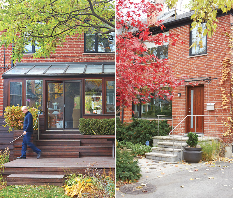 Left: Red cedar clads the solarium and runs out to the back deck. Designed by Andrew Jones, the patio features a built-in eating area; its custom railing matches the one out front.
