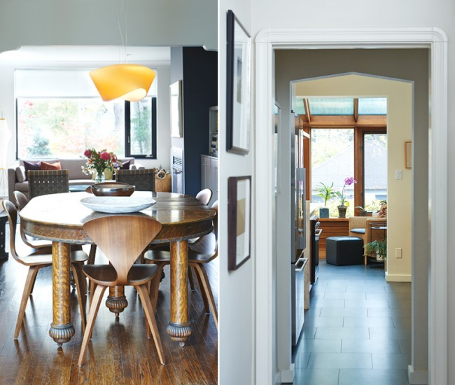 Left: The scalloped doorway – original to the Arts and Crafts home – frames views front to back. Cherner chairs circle an antique oak dining table; a frosted fixture by Foscarini hangs above. Right: Porcelain flooring from Stone Tile leads from the front door, through the kitchen and to the solarium. The original ogee moulding adds a graphic touch and frames views.