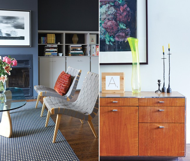 Left: The front room's fireplace is surrounded by built-in cabinets, which along with the hardwood flooring are original. Noguchi table and Knoll Risom chairs available at DWR; rug from Klaus. Right: Neat arrangements of art and objets accentuate the home. A '70s credenza is topped with a vase by Jeff Goodman and iron candlesticks from Hollace Cluny. Painting by Tony Sherman.