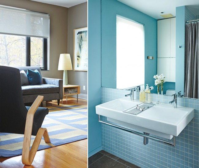 Left: Upstairs, the couple opted for a secondary bedroom and converted the master into a media room. Handwoven rug, Bev Hisey; sofa, DeBoer's; lounge chair, Quasi Modo. Right: Architect/designer Andrew Jones updated the bathroom with powder-blue tiles and limestone flooring. The mirror opens at both sides, revealing his and her shelving.