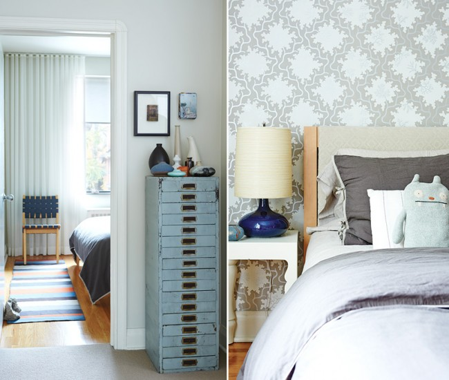 Left: A vintage watch-maker's filing cabinet is topped with a medley of vases; an heirloom, shadow-boxed Bible hangs on the wall. Runner by Bev Hisey. Right: The couple furnished their bedroom sparingly but lovingly. Bedding, West Elm; Lotte lamp, Queen West Antiques; side table, Belle Epoque; Ugly doll, MASS MoCA.
