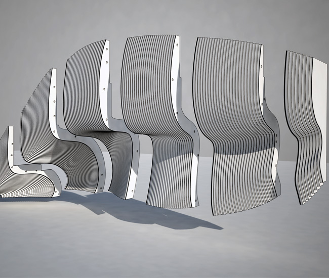 A rendering of the staircase's seven modules.