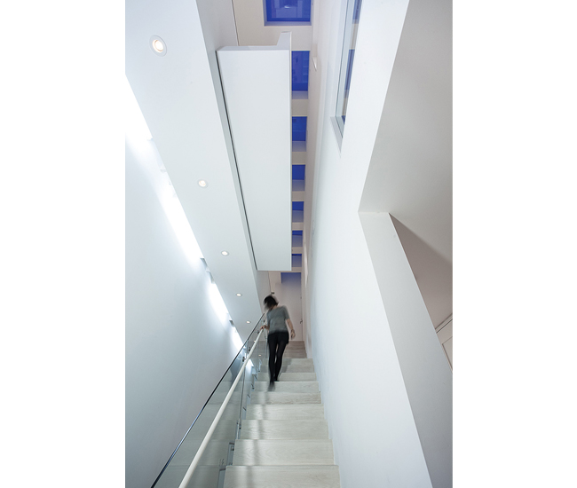 A reveal in the skylight-illuminated stairwell allows views of the foyer.