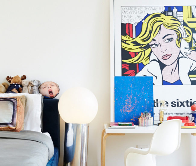 Indie's bedroom is kitted out with a Roy Lichtenstein print, floor lamp by Artemide, bed from Kiosk, and chair from Design Within Reach. Photo by Naomi Finlay.