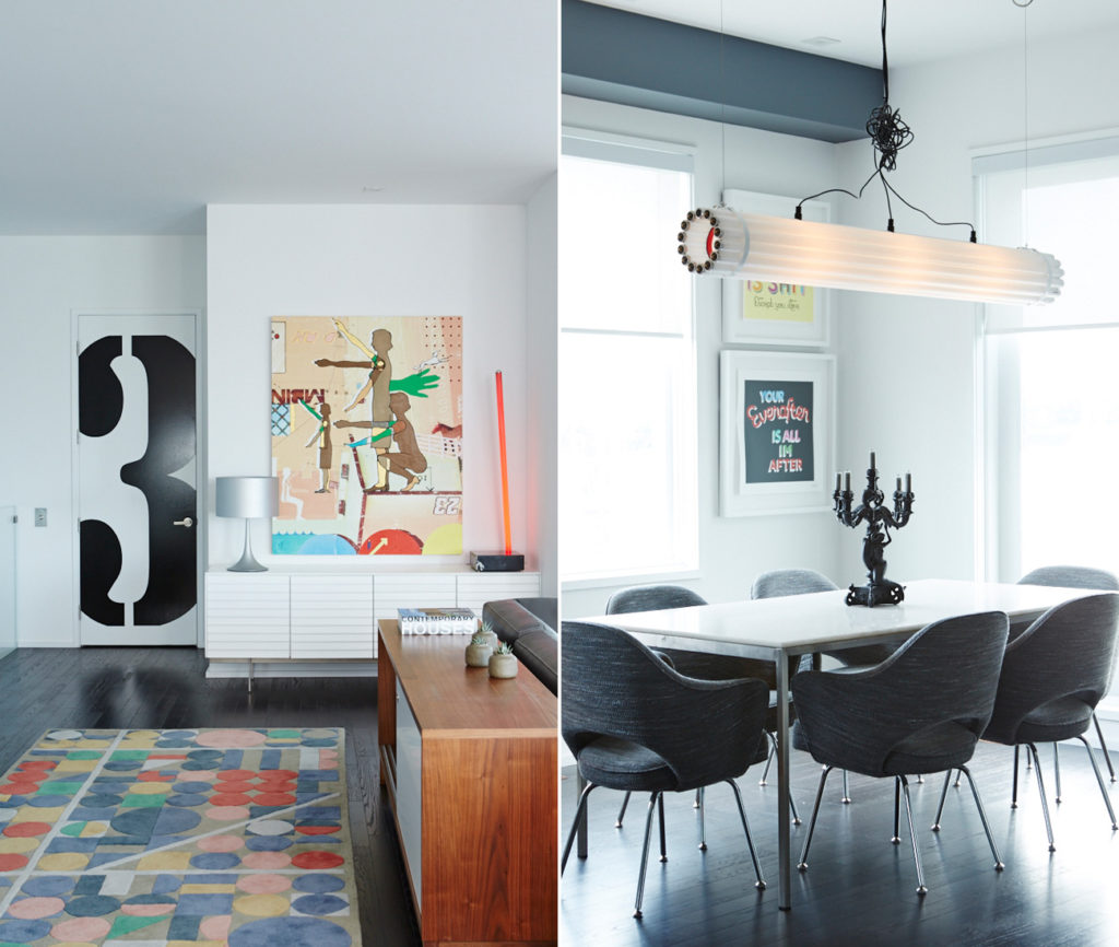 Left: A graphic on the elevator door marks which floor (of four) we're on. Rug from Made; painting by Oli Goldsmith. Right: Facing the backyard, Rob's dining area is fitted with a tube light by Castor and chairs from DWR.