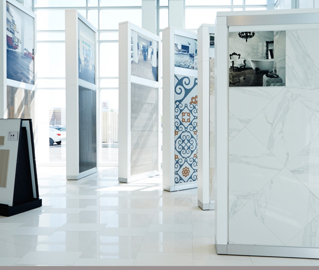 Centura Tile takes a high-fashion approach to flooring showrooms.