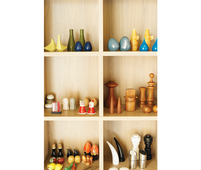 Montague's collection of 100-plus salt-and-pepper shakers. Photo by John Cullen.