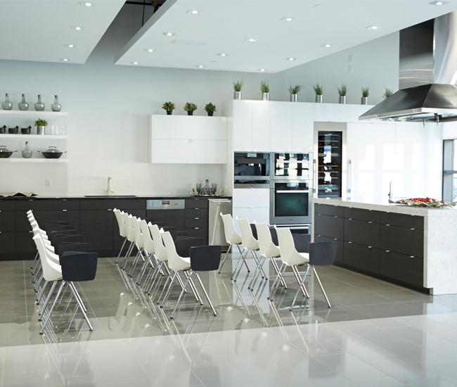 Toronto countertop materials showroom Cosentino Surfaces' Miele demo kitchen features Silestone Lyra countertops.