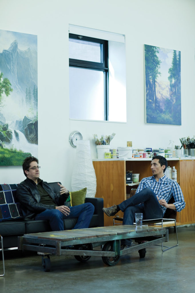 Jason Halter (left) of Wonder Inc. joins Monkman in a sitting area made up of a factory cart as coffee table (from G.U.F.F.) and Fil chairs by Pascal Mourgue for Ligne Roset (from Kiosk).