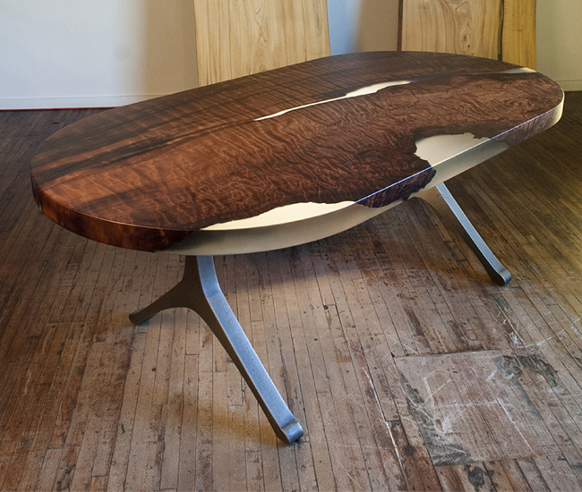 Oval cut-burl table on a Y-shaped truss. Photo courtesy of Stacklab.