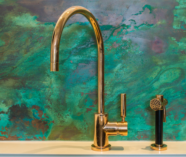 A back-splash made of oxidized and sealed copper. Photo by Sean McBride.