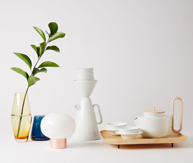 From left to right: Zen, Han, Uki, and Nichetto's past collaborations with Mjölk and designer Lera Moiseeva, the Sucabaruca coffee set and Aureola tea set.