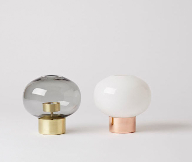 Uki is available with a brass base and grey diffuser or a copper base and white diffuser.