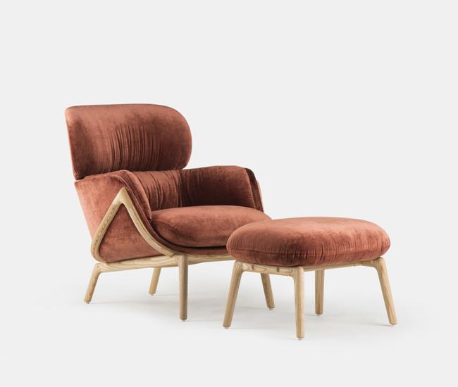 Nino ottoman and Elysia lounge chair.