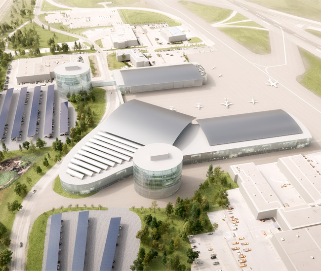 A rendering of a private jet terminal.