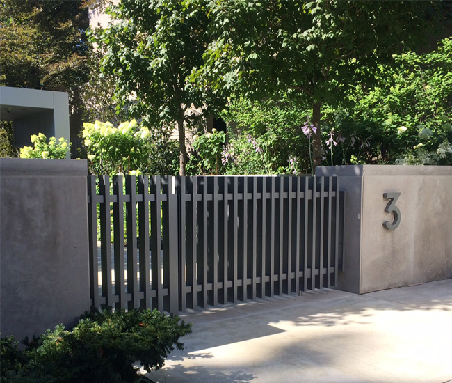An aluminum gate designed for a private residence.