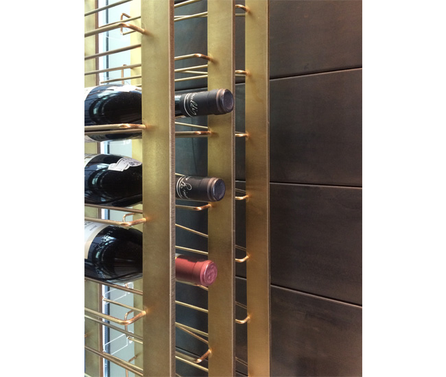 A custom wine rack designed for a private residence.