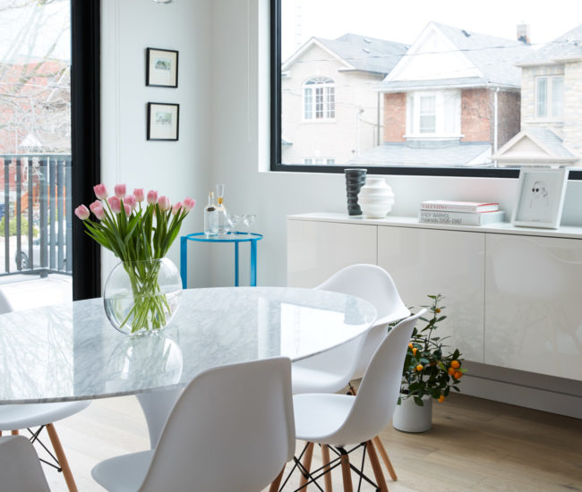 Furniture in the dining room – with north-facing balcony – is from Rove Concepts (Vancouver). Photo by Naomi Finlay.