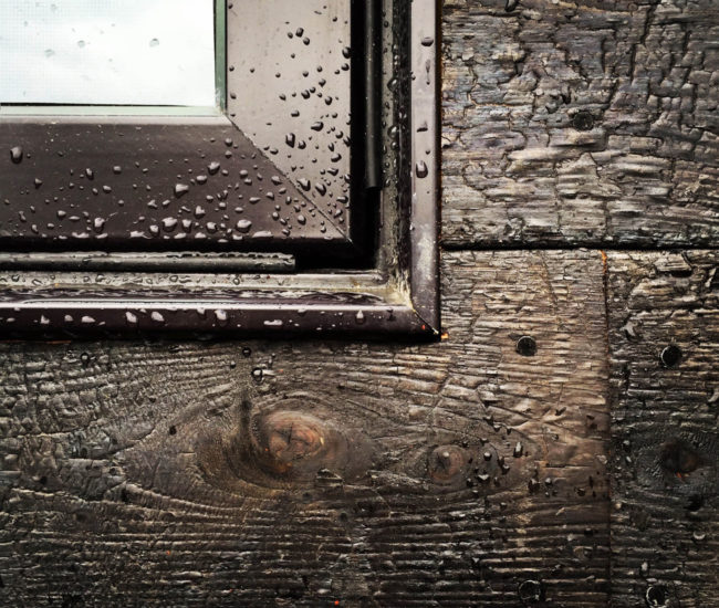 Charred-cedar cladding – called shou-sugi-ban, an ancient Japanese technique – on the lower volume repels water and protects the walls from insects and decay.