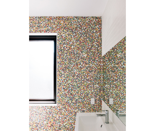 5 Compose Chiclet-sized tiles into an artistic statement wall. Chiclet-like tiles from Olympia Tile. Photo by Cindy Blažević.