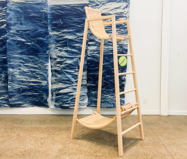 Louie George Michael's towering maple two-seater, fuses rattan lounge chairs with a lifeguard stand. While cheeky – the exhibition text reveals the design is dedicated