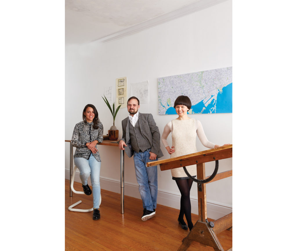 The small but mighty team of Firma – at its Beverley Street HQ – includes lead architect and founder Lia Maston (right), structural engineer Jacob Kachuba and environmental designer Karissa Carcano. Photo by Naomi Finlay.