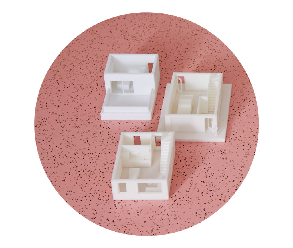3D-printed models illustrate Firma's parametric (scalable) designs. This one exhibits the optimal layout of a 102-square-metre-home. Photo by Naomi Finlay.