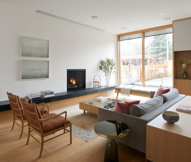 A sliding door from Loewen leads out to the Solda pool. Photo by Alex Lukey. & In Leaside An Exercise in Good Design