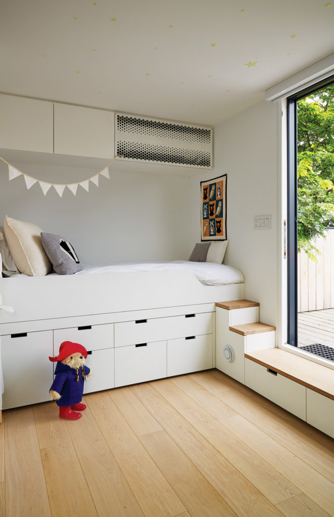 The third floor nursery steps out to a 30-square-metre, cedar-clad patio.