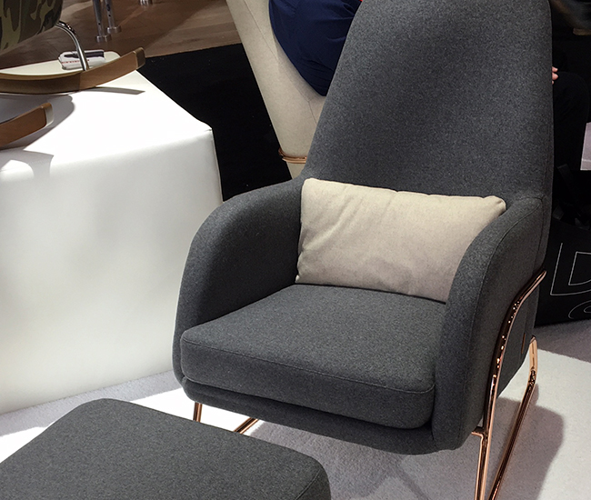 Jackson Lounge by Monte Design. Ralph Montemurro is a local designer and manufacturer that began his company, Monte, with stylish family-appropriate rocking chairs and gliders. Congratulations to him for introducing at the show a wide range of furnishings, including this armchair and ottoman with copper plated-chrome tube base.