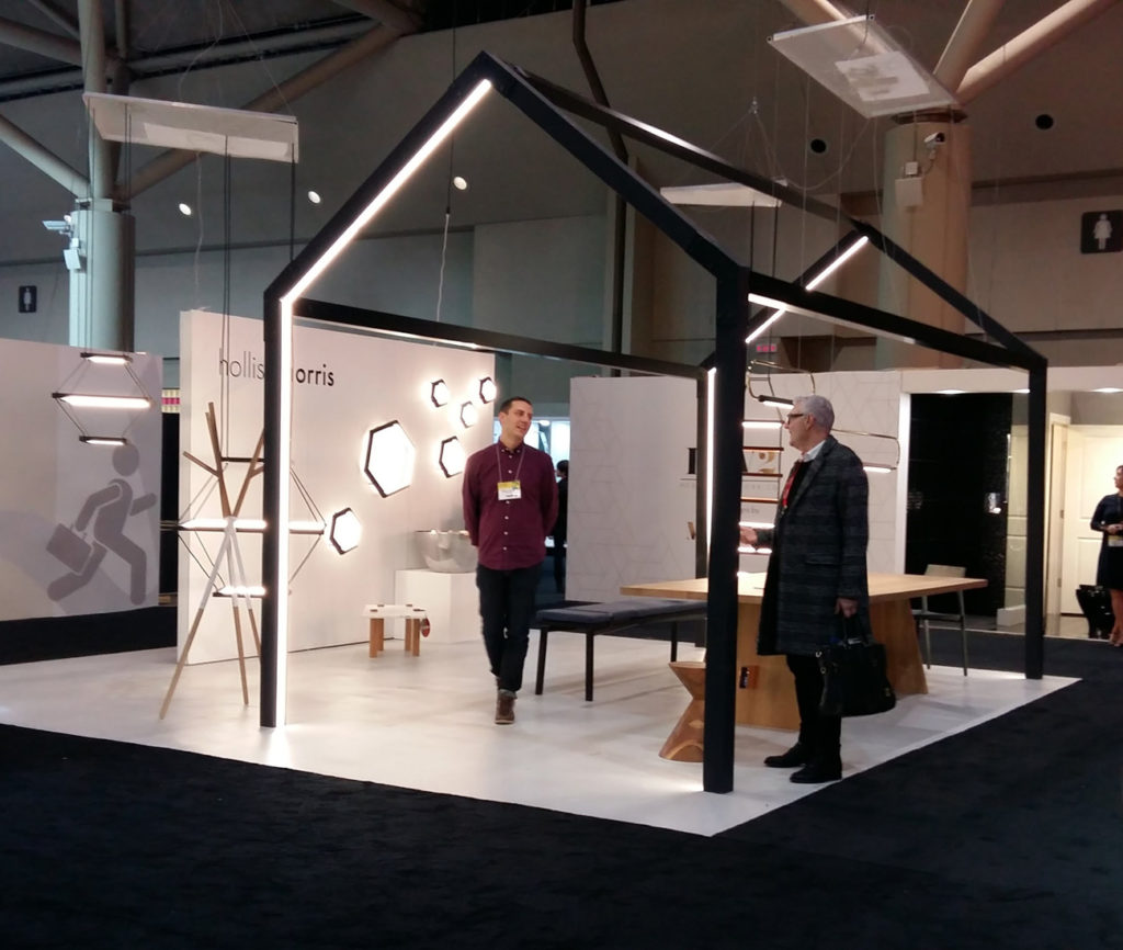 Hollis + Morris booth. Hollis + Morris created an illuminated house frame for their IDS booth as a celebration of the brand's new hometown showroom and when we dropped by the booth towards the end of the day, a designer was clamouring to buy the frame for a project he had in the works. He was really excited by how it was all coming together and it made us realize, the entire booth needed to be tagged. The Lantern lights are stellar, as are the new tabletop accessories, and the three new coffee tables shown.