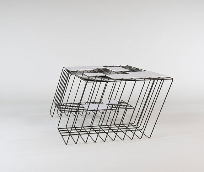Iso Table by Justin Bailey. Inspired by isometric drawing, Justin Bailey's slanted wire and tile coffee table was one of the most original designs we saw. The designer uses bold, parallel lines to create a feeling of forward movement that would energize any interior.