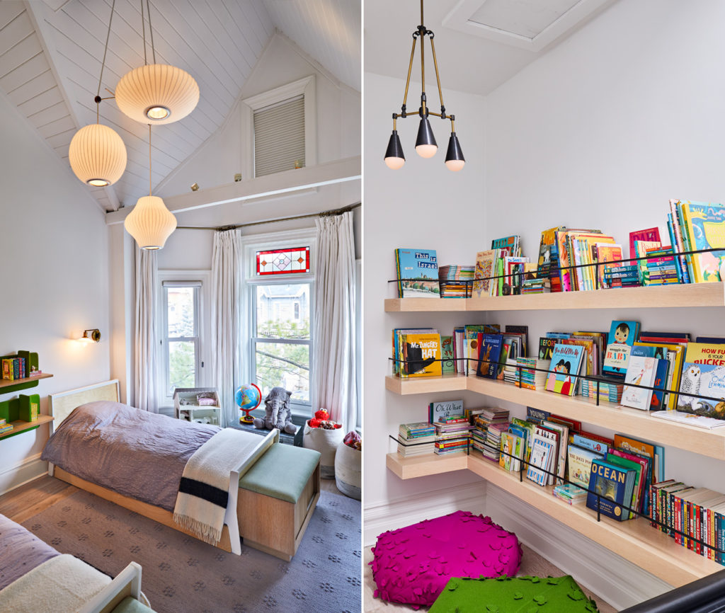 Left: The original cathedral ceiling and stained glass windows are the main attractions in this kids' bedroom. Bedside shelves by Alki; Nelson pendants from LightForm. Right: A Type Books–curated library bookends the upper hallway. Flooring throughout by Stone Tile; pendant by Apparatus from Hollace Cluny.