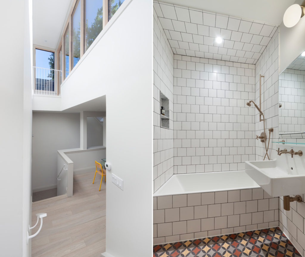 Left: A soaring atrium opens to the third storey, with western light pouring in from a full wall of windows from Torp. Right: Formerly a walk-in closet with half walls, the new bathroom features cement floor tiles by Clea and subway tile from Stone Tile. Sink by Duravit; shower by Kohler.