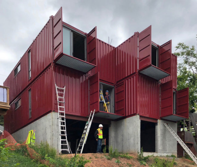 hamilton 39 s first shipping container home was built in a day designlines magazine. Black Bedroom Furniture Sets. Home Design Ideas