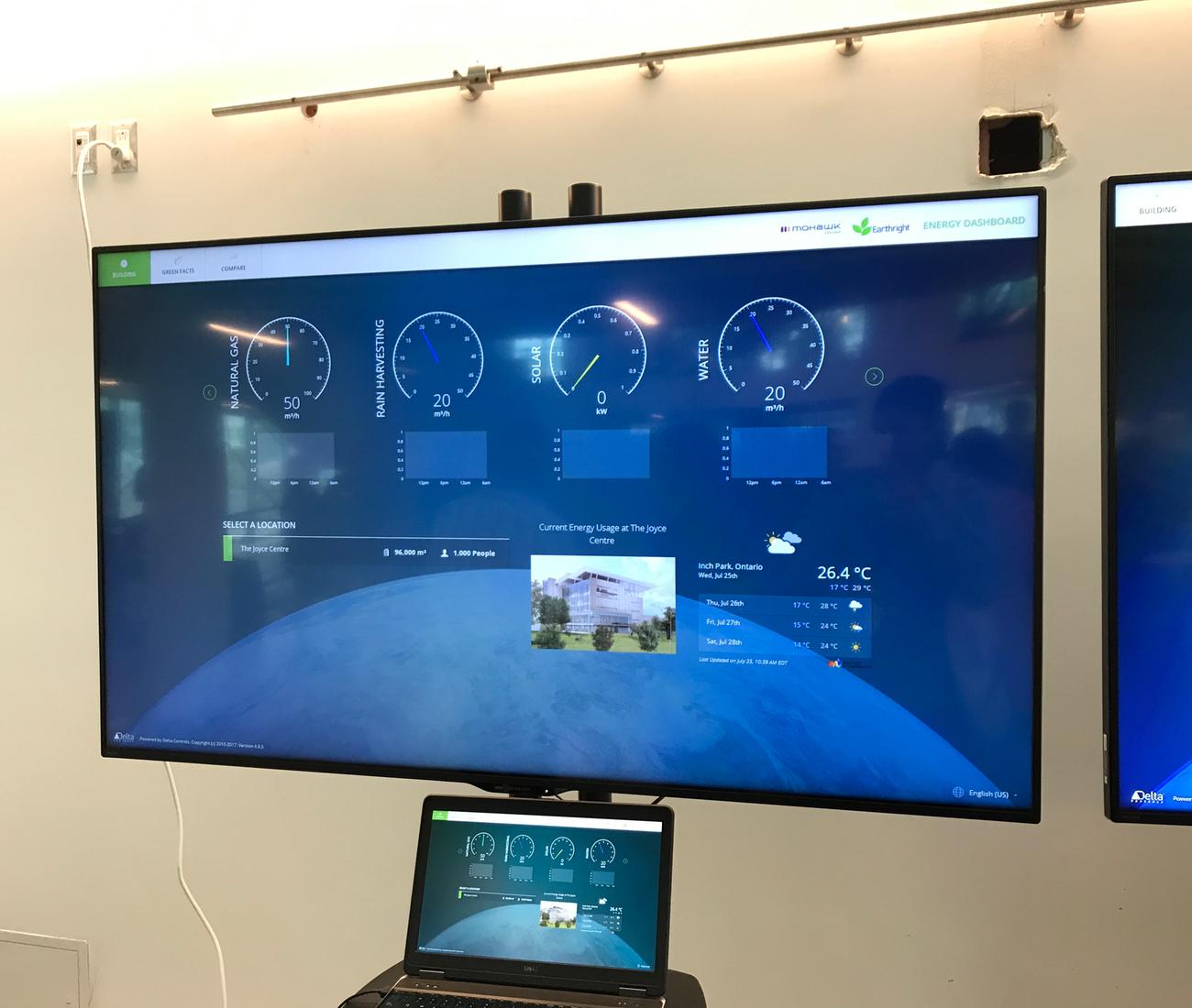 Monitors in the atrium at Mohawk College's Joyce Centre in Hamilton