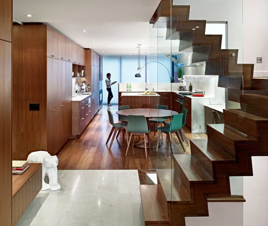 The kitchen features the Turntable and Morph chairs by Germany's Formstelle, at Toronto's Avenue Road.