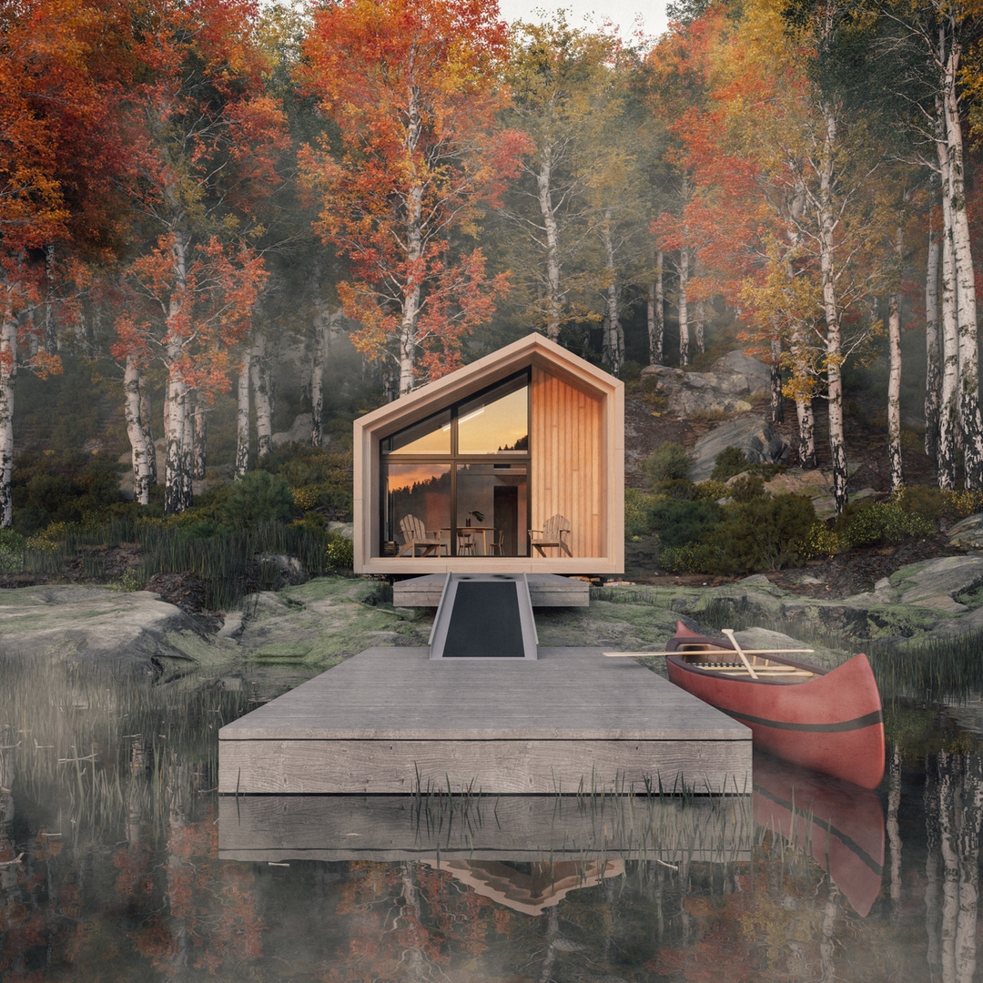 A dockside view of Leckie Studio's Great Lakes Backcountry Cabin