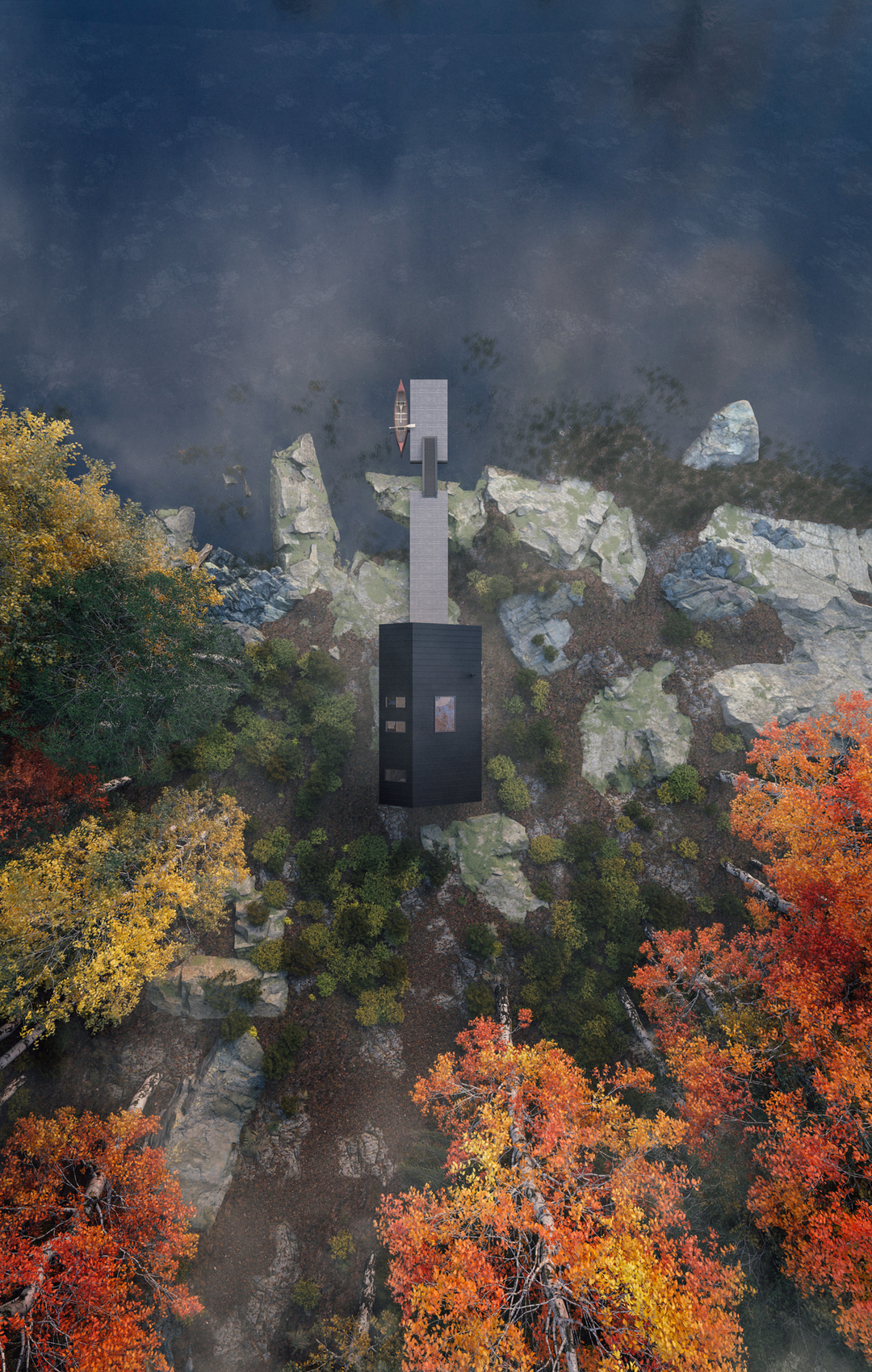 An aerial view of Leckie Studio's Great Lakes Backcountry Cabin