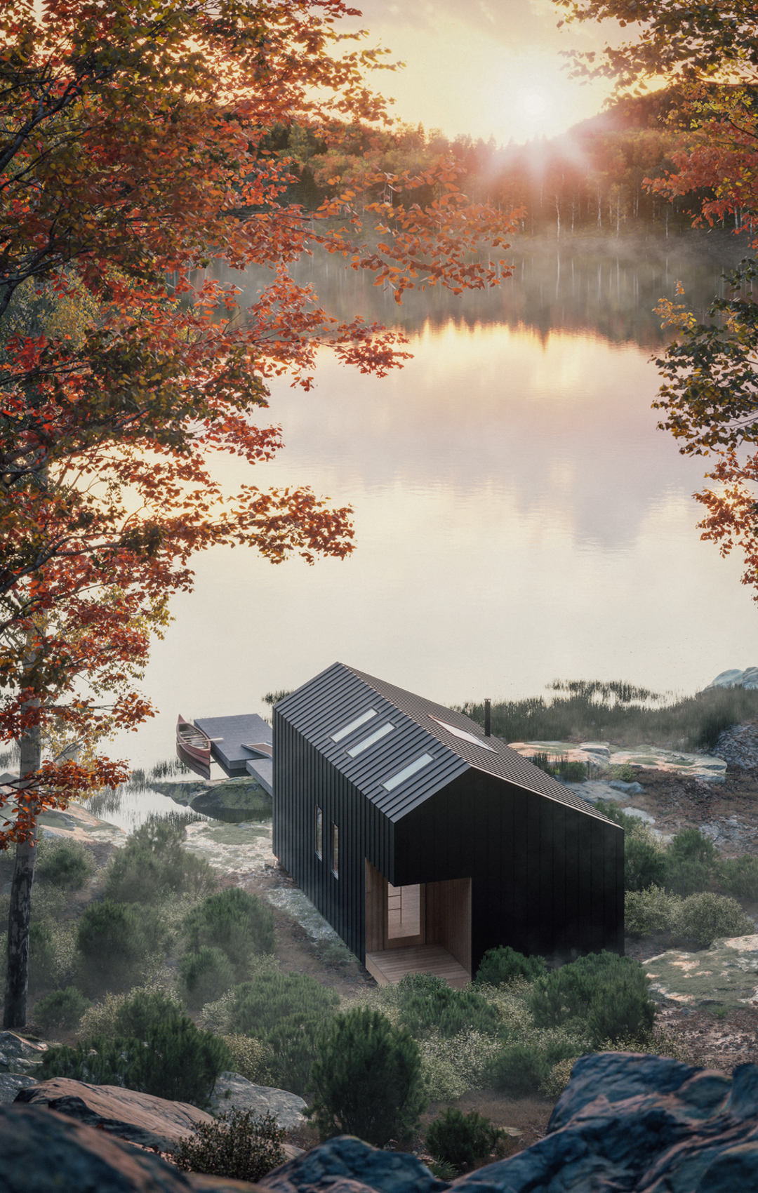 An elevated view of Leckie Studio's Great Lakes Backcountry Cabin