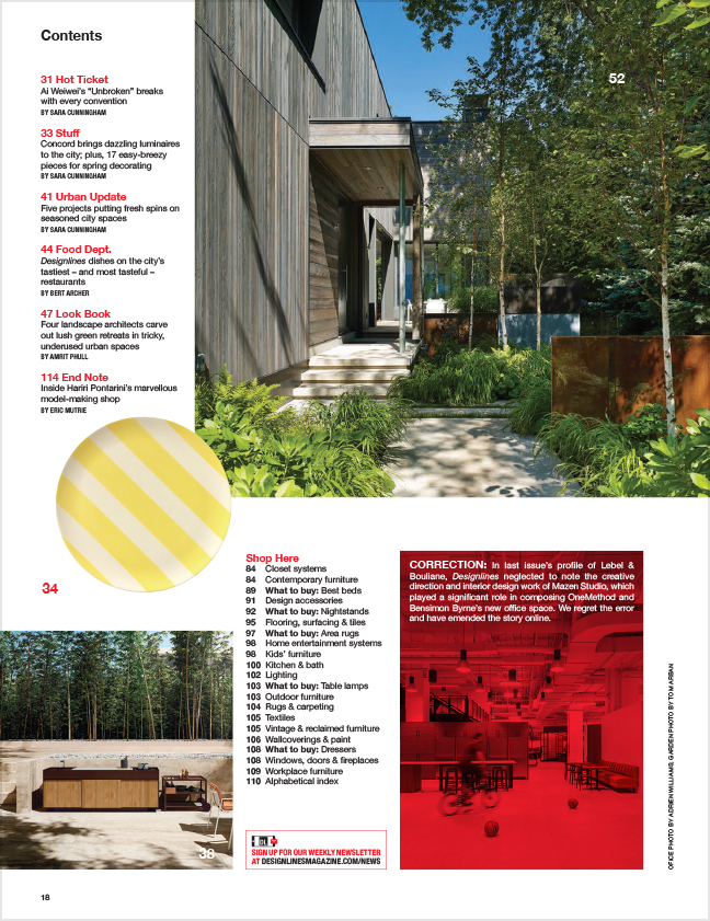 Designlines Small Spaces Issue, Summer 2019 - Contents 2